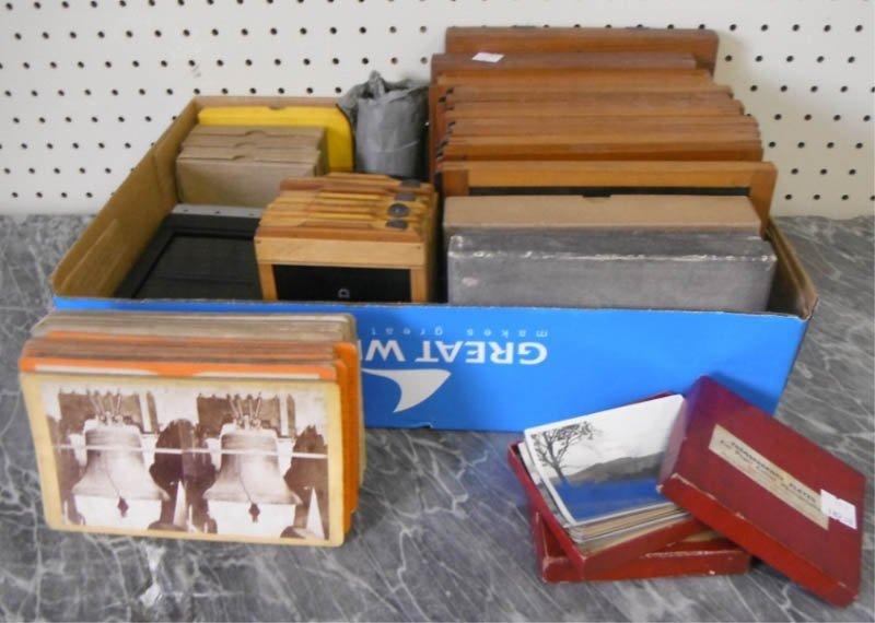 15: Box of plates & photographs.