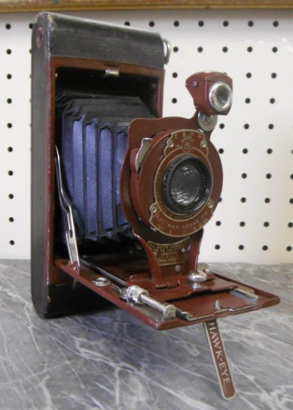 21: Eastman Kodak Rainbow Hawk-eye folding camera.