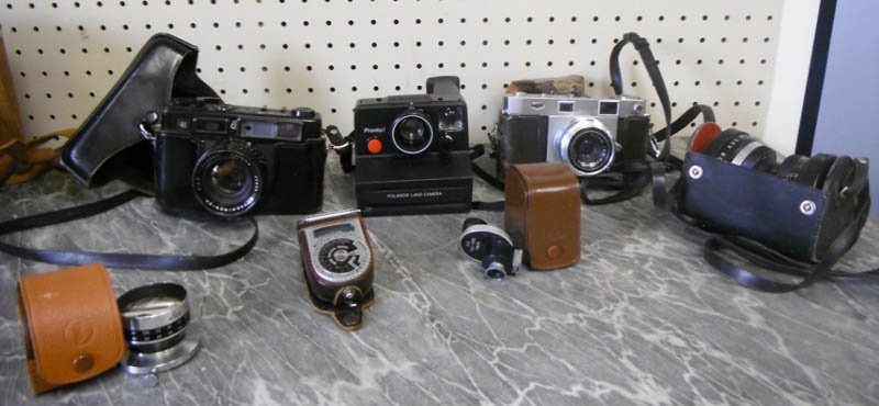22: Group of 3 cameras, lenses, & accessories.