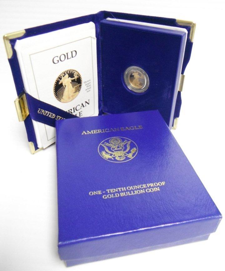 4: US gold coin 1/10 ounce proof gold bullion coin.