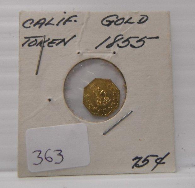 5: 1855 California Gold Token.