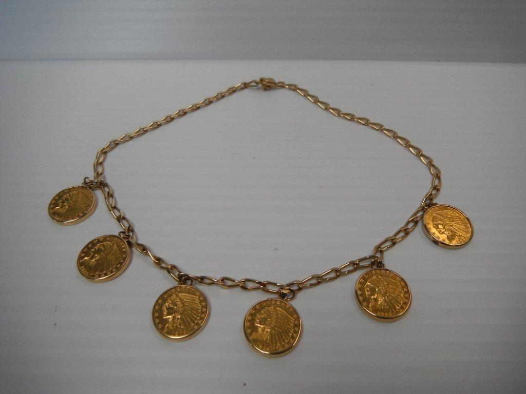 6: 6 Indian Head Quarter Eagle 2.5 dollar coins.