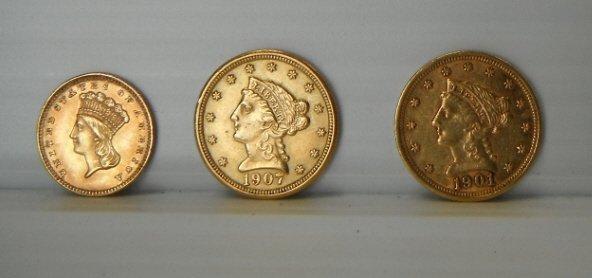 7: 1901 & 1907 Liberty Head 2 1/2 dollar coin &