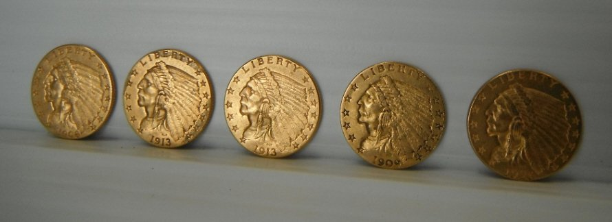 9: 5 Indian head 2 1/2 dollar gold coins.