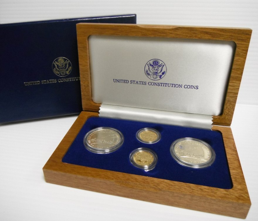 12: US Constitution coins set incl. 2 gold $5.