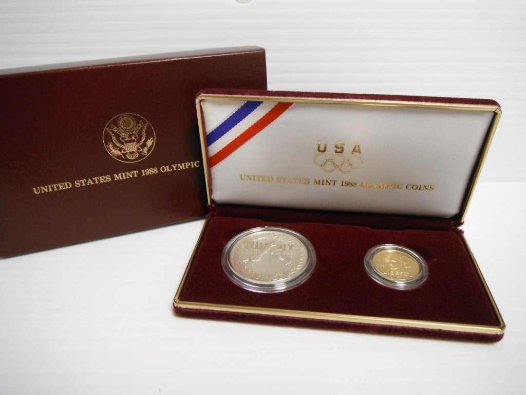14: US Mint 1988 Olympic Coins set incl. $5 gold coin.