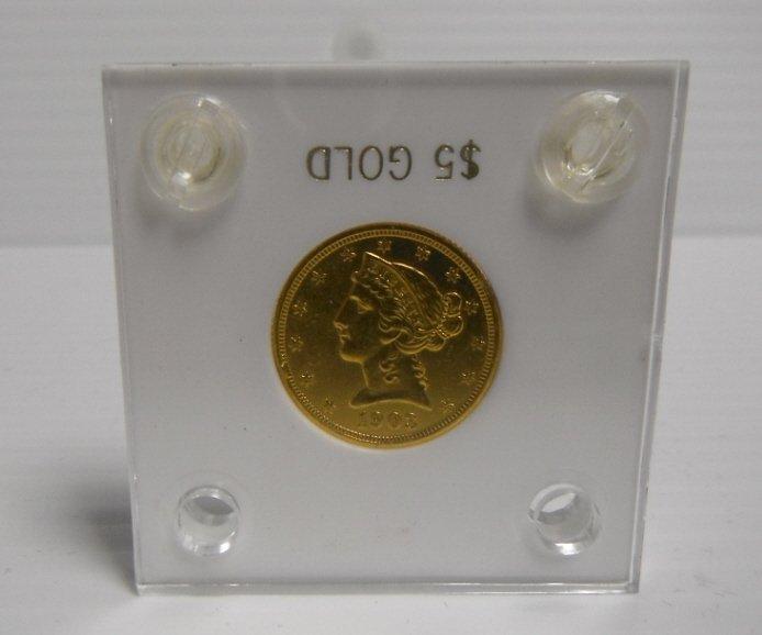 15: 1903 gold Liberty Head coin $5 AU.