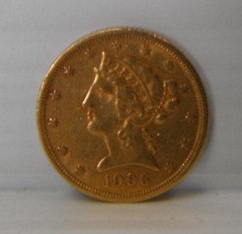 16: 1906-S  Liberty head five dollar gold coin $5