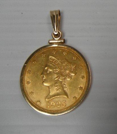 17: 1905 US gold ten dollar Liberty Head Eagles coin.