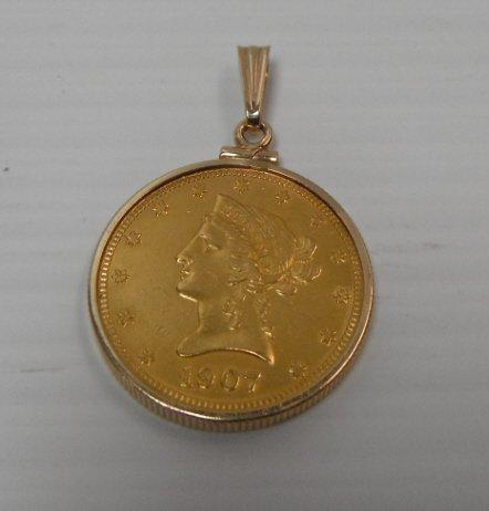 18: 1907 US gold ten dollar Liberty Head Eagle coin.