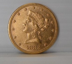 19: 1882 Liberty Head ten dollar gold coin $10.