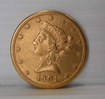 20: 1901 Liberty Head ten dollar gold coin $10.