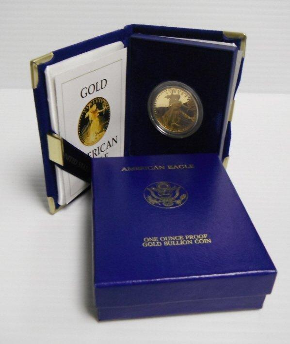 22: 1986 1 ounce proof gold bullion $50 coin.