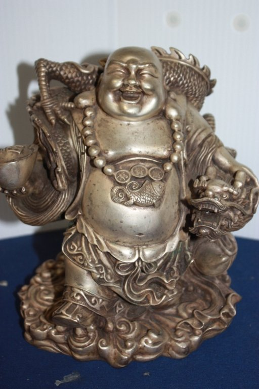 2: Silver plated Chinese Buddha statue.