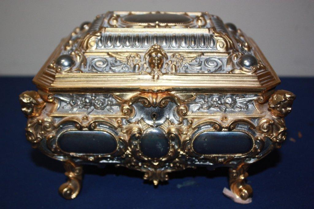 3: German silver plate & brass jewelry box.