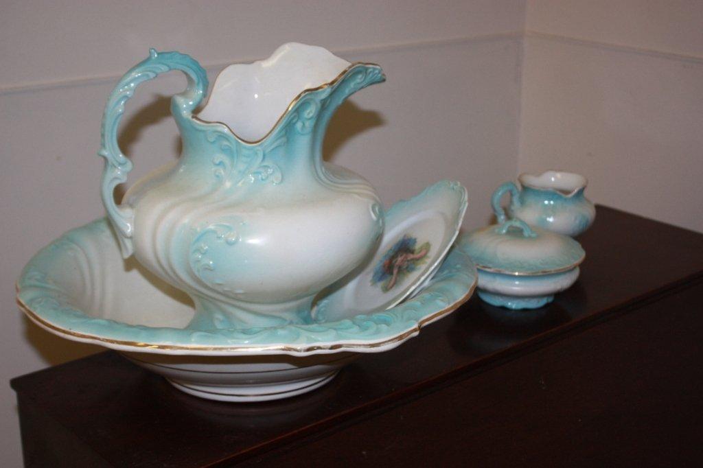 5: Victorian blue & white water pitcher & basin