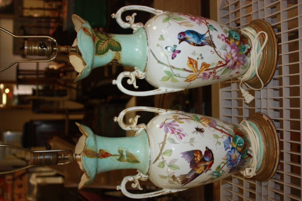 6: Pair of decorated two handle vase lamps