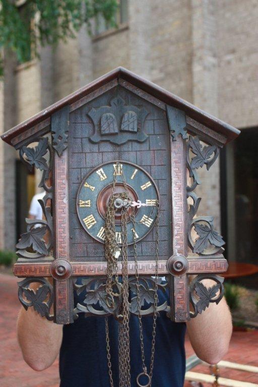 7: Swiss marquetry wooden Cuckoo clock