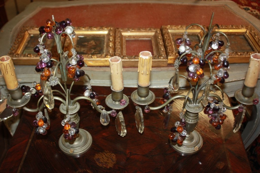 13: Pair of candelabra w/ glass bead accents.