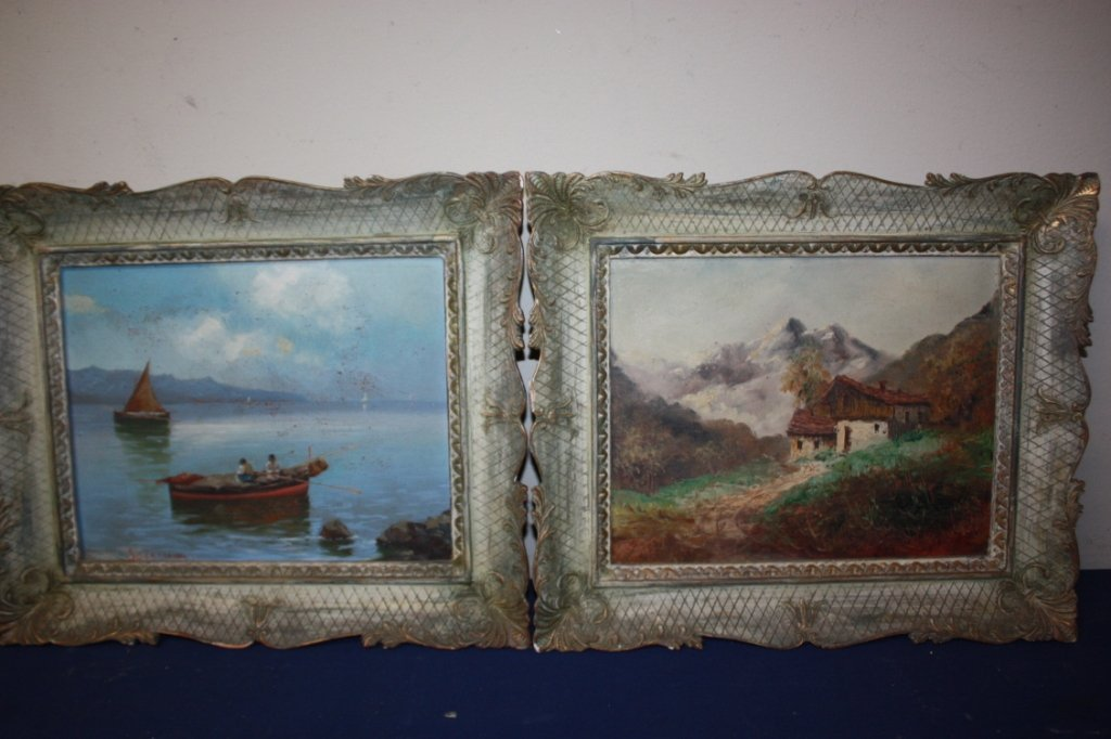 20A: Pair of Continental oil on board paintings.