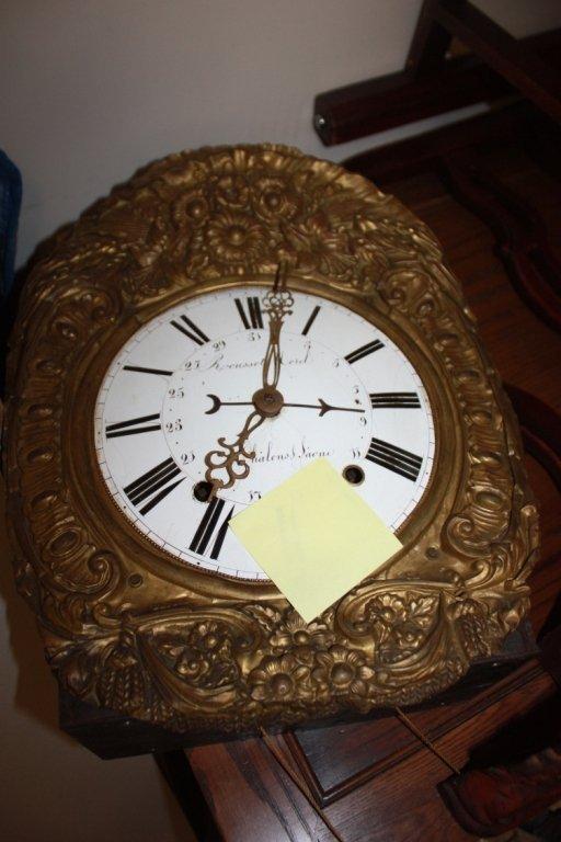22: Rousset Morel gilt metal framed hanging clock.
