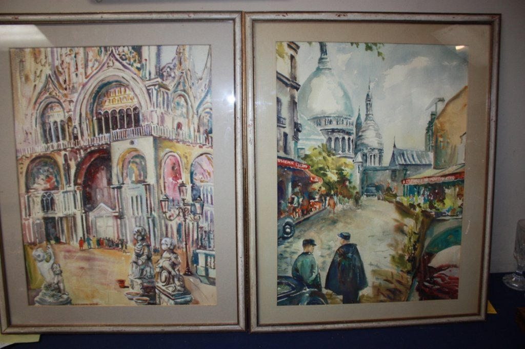 22A: Lot of 2 watercolors under glass.