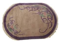 51: Pair of purple Chinese Art Deco rugs.