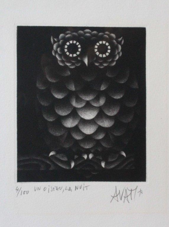 Avati, Mario. Un Oiseau, La Nuit. Signed. 4/100.
