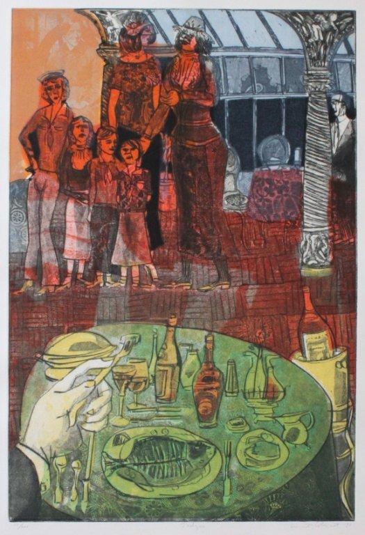 Colescott. 3 Items (1 watercolor + 2 lithographs).