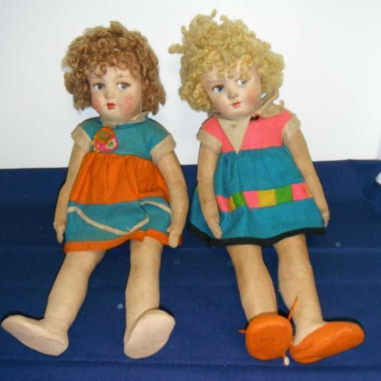 2003: Pair of Lenci dolls, possibly Shirley Temple.