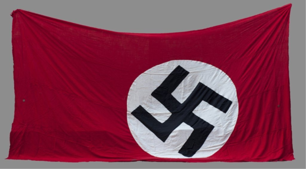 "116: German WWII Nazi garrison flag 9' x 14 1/2"". Very"