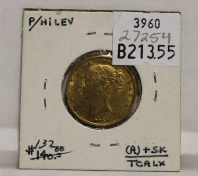 1: 1855 British Victoria gold sovereign XF.