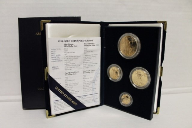 4: 1999 gold bullion coin proof set incl 4 gold coins