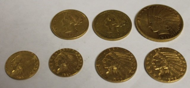 6: Group of US gold coins.