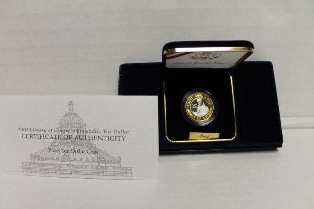 10: US 2000 Library of Congress Bimetallic $10 coin