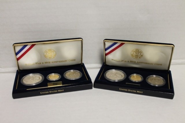 13: 2 WWII 50th Anniversary coins three-coin proof set