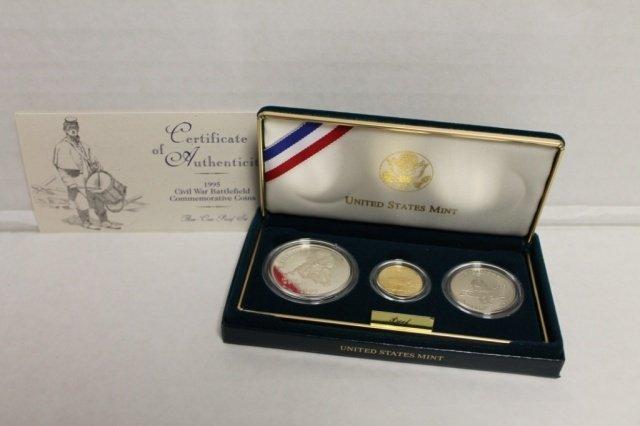 15: 1995 US Civil War Battlefield commemorative coins.