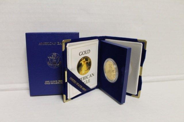 19: 1986 one ounce proof gold bullion coin $50.
