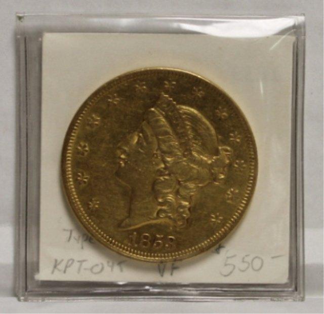 21: 1853 20 dollar Liberty Head gold coin VF Type 1.