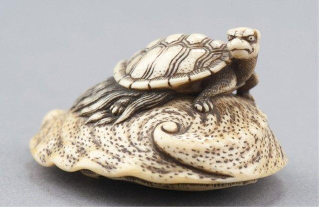 15: An ivory netsuke of a Minogame tortoise.