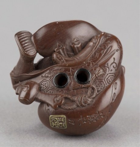 190: A wood netsuke of Daikoku and bag of rats - 5