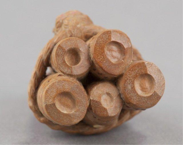 191: A wood netsuke of 5 bamboo shoots. - 4