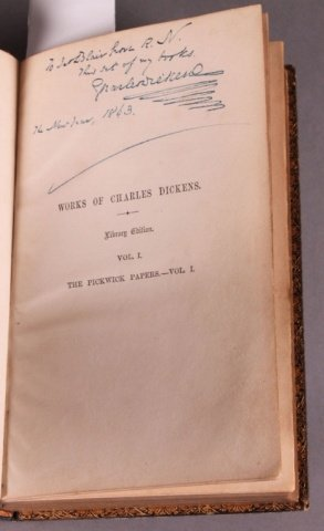 WORKS OF CHARLES DICKENS, 30 Vols, signed & inscr.