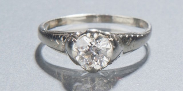 13: European-cut diamond ring.