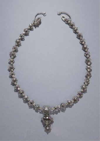 24: 19th c. silver filigree necklace with pendant.