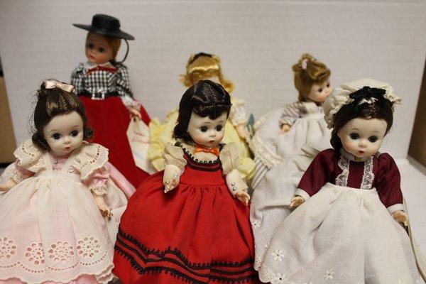 6 Madame Alexander dolls incl Gibson Girl. 6 Madame Ale