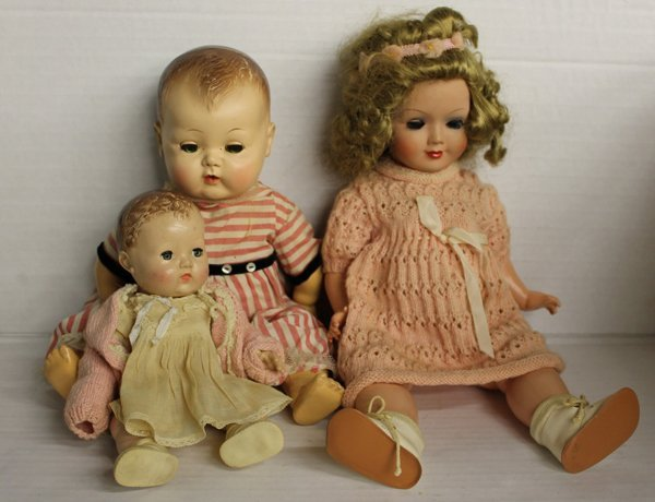 Group of 3 mid-century dolls, composition, rubber. Grou