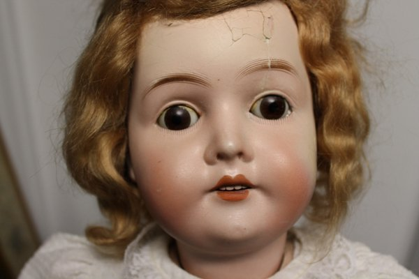 """German bisque character doll """"Queen Louis"""". Marked at b"""