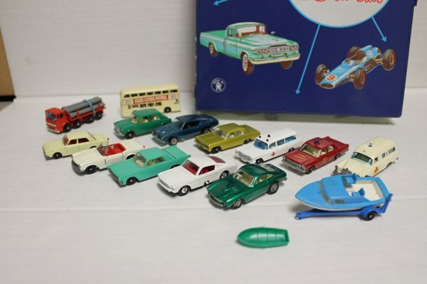 Box of vintage toy cars, mostly Lesney Matchbox. Group