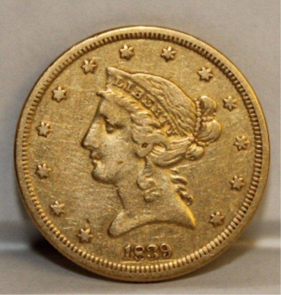1839 5 dollar gold coin.